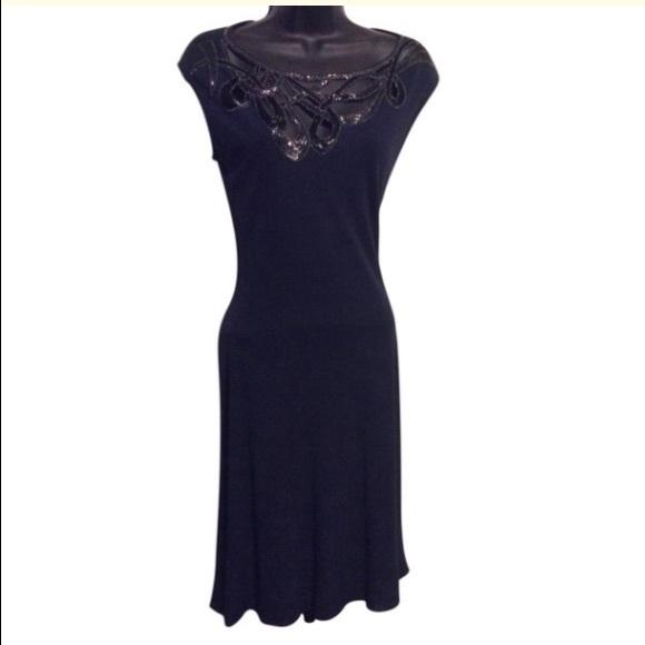 Vintage Dresses & Skirts - Vintage Navy Blue Sequin Dress
